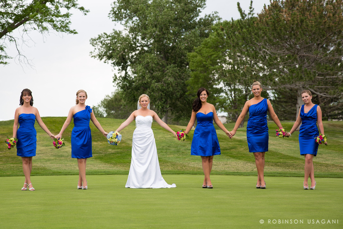 Bridal party on golf course