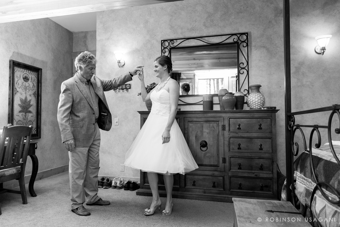 Dad see his daughter in the wedding dress
